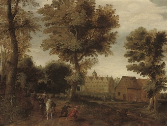 A wooded landscape with elegan