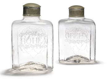 A PAIR OF ENGLISH GLASS ENGRAV