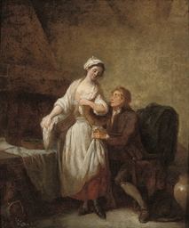 An amorous couple in an interi