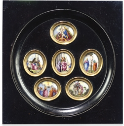 A SET OF SIX GERMAN ENAMEL MIN