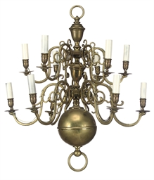 A DUTCH BRASS CHANDELIER