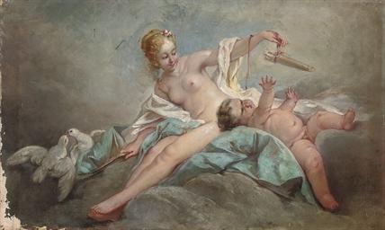 Venus and Cupid on a cloud