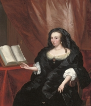 Portrait of a lady, three-quarter-length, in a black dress and wrap, an open book to her right
