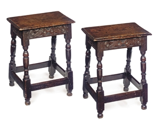 A PAIR OF CHARLES II OAK JOINE