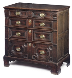 A QUEEN ANNE OAK FIVE-DRAWER C