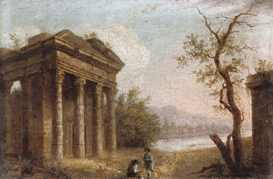 A capriccio landscape with cla