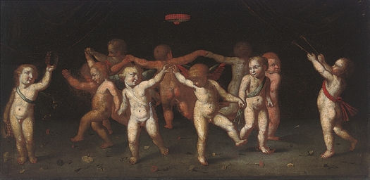 Putti dancing in a ring; and I