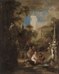 Women bathing by a fountain in