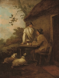 Two men by a tavern with their