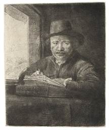 Self-Portrait drawing at a Win