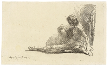 A nude Man seated on the Groun