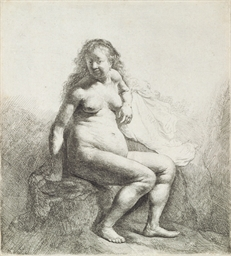 A naked Woman sitting on a Mou