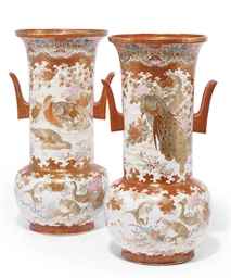 A PAIR OF JAPANESE KUTANI VASE
