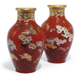 A PAIR OF JAPANESE RED GROUND