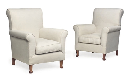 A PAIR OF UPHOLSTERED BEECH AR