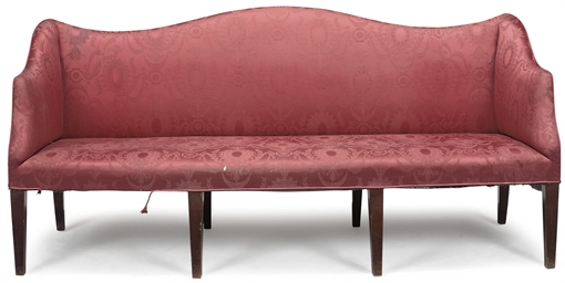 A MAHOGANY RED DAMASK SOFA