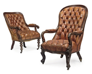 TWO VICTORIAN MAHOGANY ARMCHAI