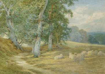 Herding sheep along a Surrey l