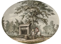 Watering a horse at the well (illustrated); and Figures by the village