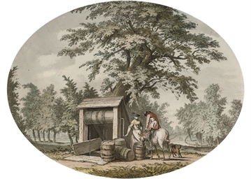 Watering a horse at the well (