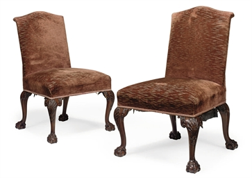 A PAIR OF WALNUT UPHOLSTERED S