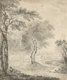Figures promenading in a rural