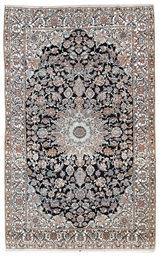A very fine part silk Nain rug