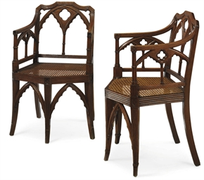 A PAIR OF REGENCY 'GOTHICK' OA