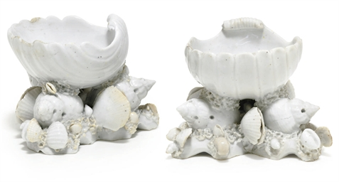 TWO BOW WHITE SHELL-FORM SALTS