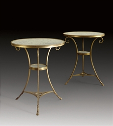 A PAIR OF ORMOLU AND WHITE-VEI