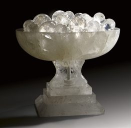 A ROCK CRYSTAL TAZZA AND A GRO