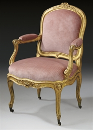 A LOUIS XV GILTWOOD FAUTEUIL A