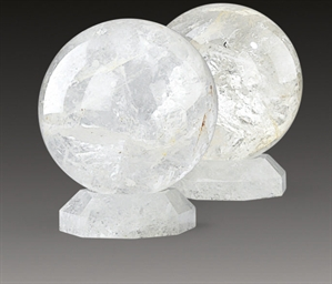 A PAIR OF LARGE ROCK CRYSTAL S