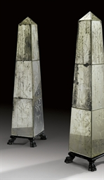 A PAIR OF ETCHED GLASS OBELISK