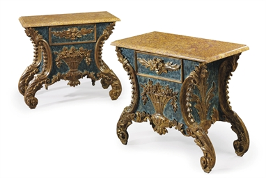 A PAIR OF ITALIAN BLUE-PAINTED