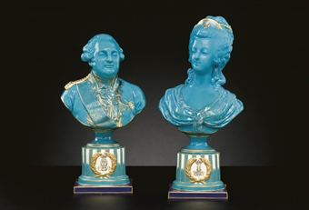 A PAIR OF SEVRES STYLE TURQUOISE-GROUND BUSTS OF LOUIS XVI AND MARIE ANTOINETTE