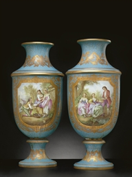 A LARGE PAIR OF SEVRES STYLE T