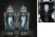 A PAIR OF MINTONS PATE-SUR-PATE PEACOCK-BLUE VASES AND COVERS, 'CHAPLET DES FLEURS'