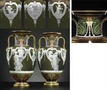 A PAIR OF MINTONS PATE-SUR-PATE OLIVE-GREEN TWO-HANDLED VASES, 'LA CLE DES COEURS'