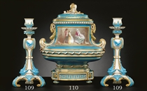 A MINTONS TURQUOISE-GROUND 'OVAL QUEEN'S VASE', COVER AND STAND