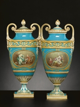 A PAIR OF MINTONS TURQUOISE-GROUND VASES AND COVERS
