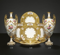 A PAIR OF ROYAL CROWN DERBY GILT-WHITE VASES