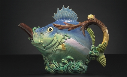A MINTONS MAJOLICA FISH-FORM T