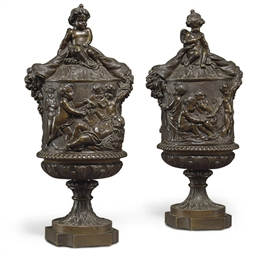 A PAIR OF PATINATED BRONZE VAS