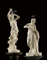 A FRENCH MARBLE FIGURE OF A MAIDEN