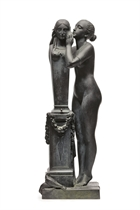 A FRENCH BRONZE 'MODELE' ENTITLED 'JEUNE FILLE CONFIANT SON SECRET A VENUS'
