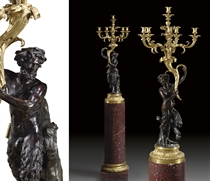 A PAIR OF FRENCH ORMOLU AND PATINATED BRONZE SIX-LIGHT FIGURAL CANDELABRA, ON ORMOLU-MOUNTED GRIOTTE ROUGE MARBLE PEDESTALS
