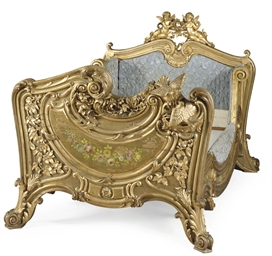 A FRENCH GILTWOOD AND POLYCHRO