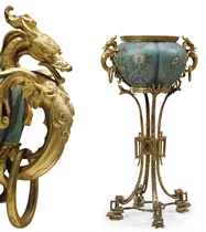 A FRENCH ORMOLU AND CLOISONNE ENAMEL JARDINIERE-ON-STAND