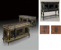 A MATCHED PAIR OF FRENCH ORMOLU-MOUNTED EBONY AND GILT-DECORATED BLACK LACQUER COMMODES A VANTAUX